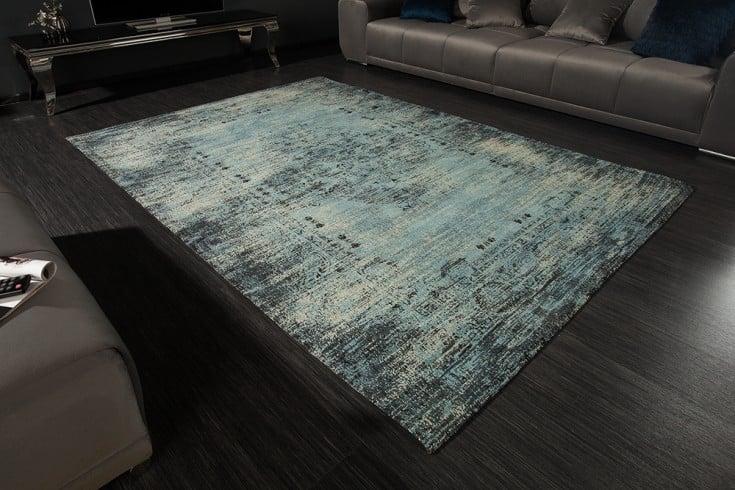 Vintage Baumwoll-Teppich OLD MARRAKESCH 240x160cm antik blau verwaschen Used Look