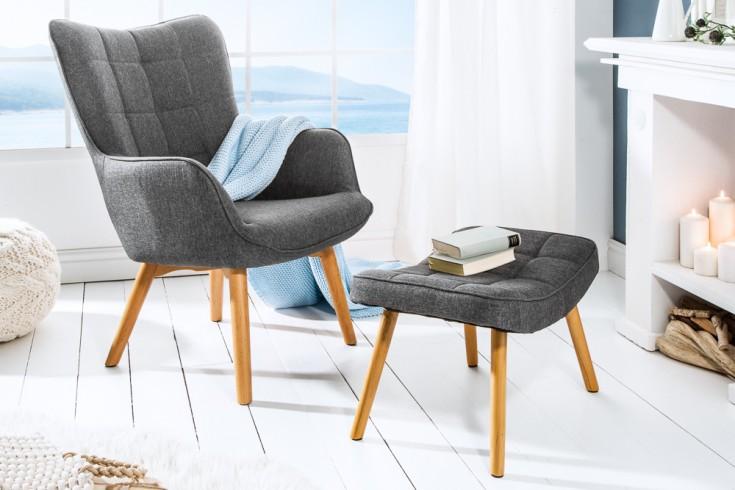 Design Armlehnen Sessel SCANDINAVIA grau Buche Scandinavian Design