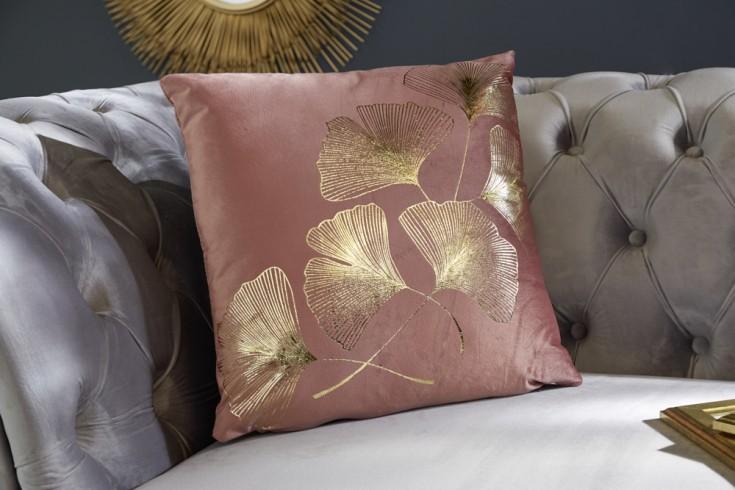 Elegantes Samtkissen 40x40cm altrosa mit goldenen Blättern