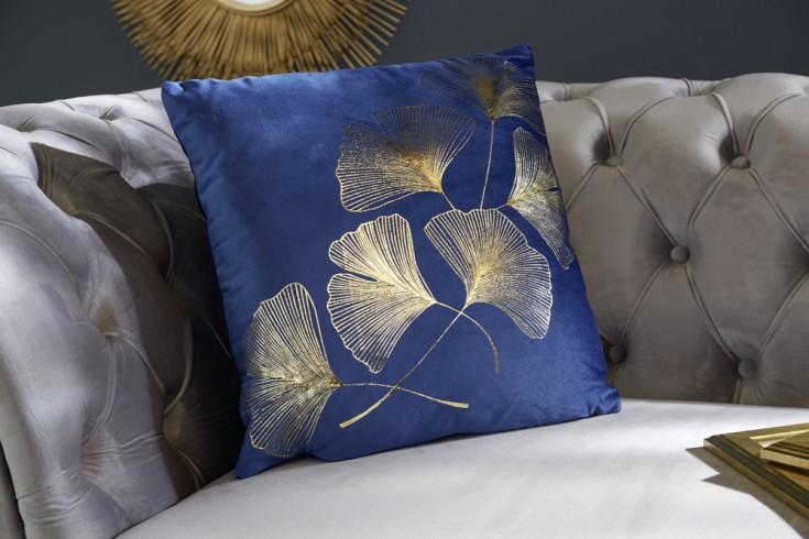 Elegantes Samtkissen 40x40cm dunkelblau mit goldenen Blättern