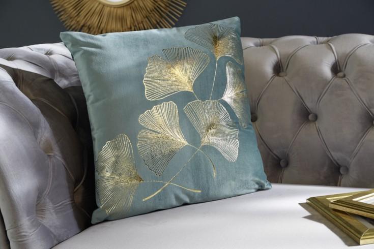 Elegantes Samtkissen 40x40cm mint mit goldenen Blättern
