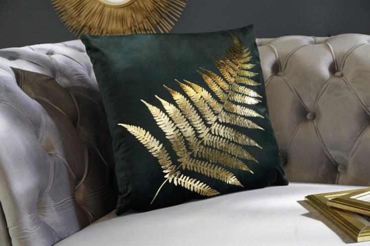 Elegantes Samtkissen 40x40cm dunkelgrün mit goldenem Farnblatt