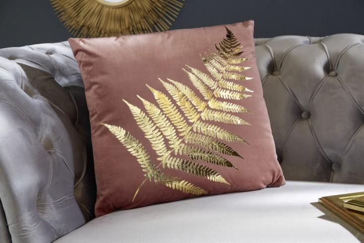 Elegantes Samtkissen 40x40cm altrosa mit goldenem Farnblatt