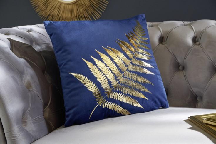 Elegantes Samtkissen 40x40cm dunkelblau mit goldenem Farnblatt