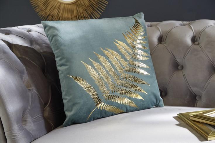 Elegantes Samtkissen 40x40cm mint mit goldenem Farnblatt