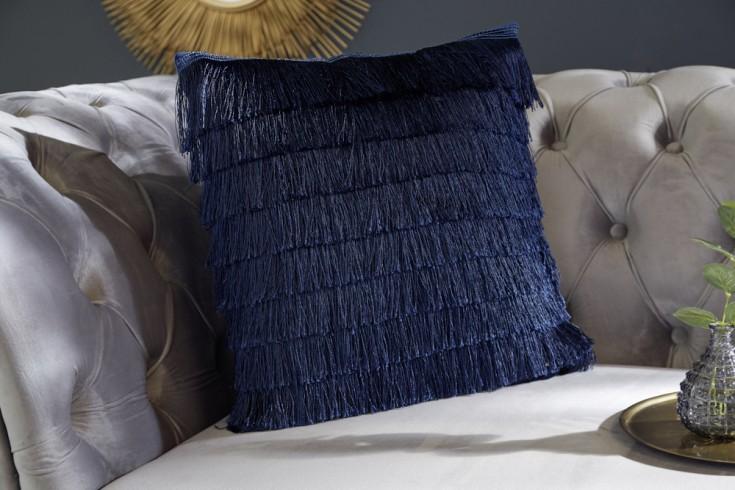 Extravagantes Samtkissen 40x40cm dunkelblau mit Fransen