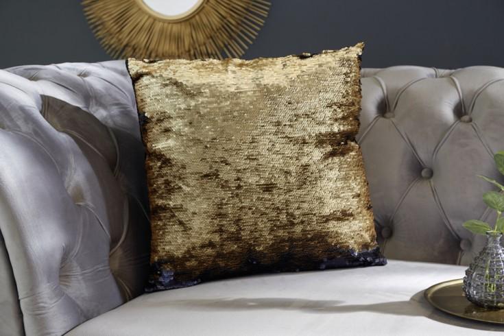 Design Pailletten Kissen 40x40cm gold schwarz mit Farbwechsel