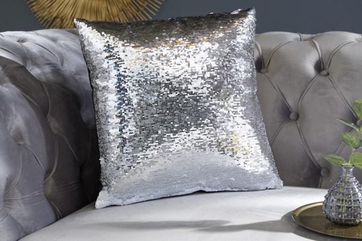 Design Pailletten Kissen 40x40cm silber weiß mit Farbwechsel