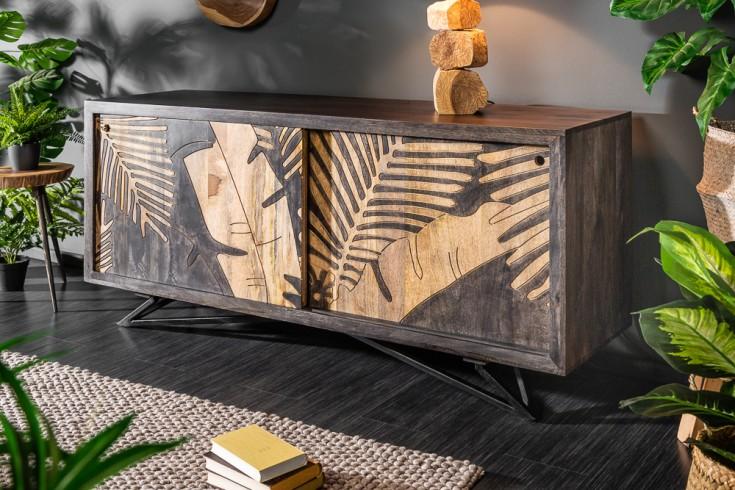Massives Sideboard TROPICAL 160cm Mangoholz Florales Design