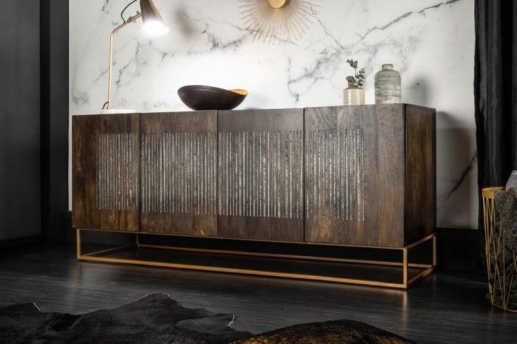 Massives Sideboard ONYX 177cm Mangoholz mit Achatstein Besatz