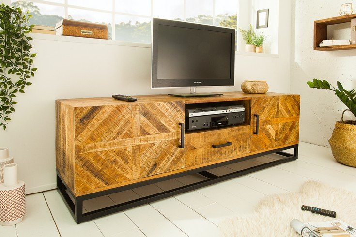 Massives TV-Board INFINITY HOME 160cm Mangoholz Industrial Design