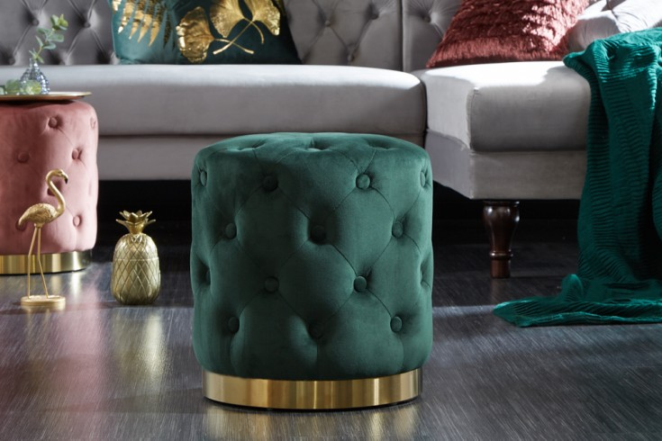 Eleganter Samt Hocker MODERN BAROCK CHESTERFIELD 36cm dunkelgrün gold