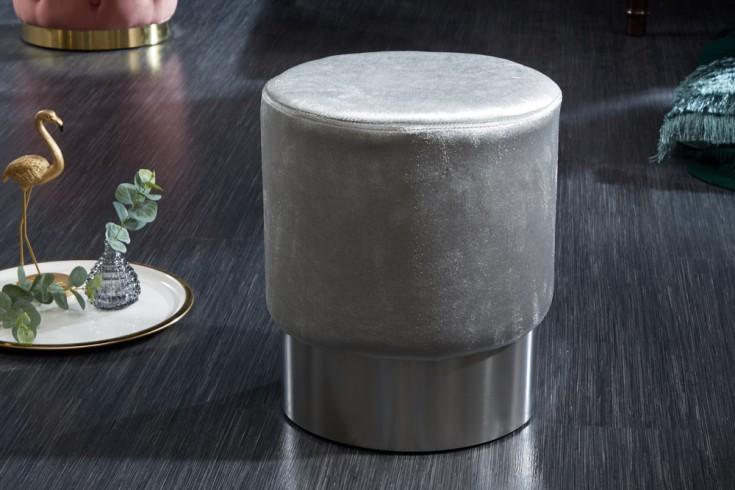 Eleganter Sitzhocker MODERN BAROCK 35cm Samt silber Beistelltisch