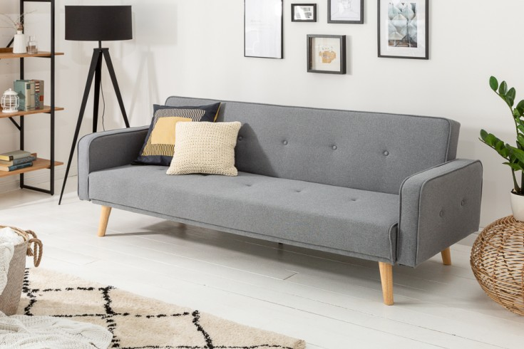 Design Schlafsofa SCANDINAVIA 210cm anthrazit 3er Sofa mit hochwertigem Aufbau