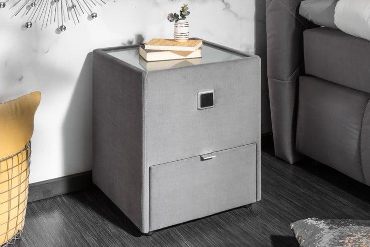 Moderner Nachttisch BOUTIQUE 43cm grau Samt mit Schublade indirekte Beleuchtung
