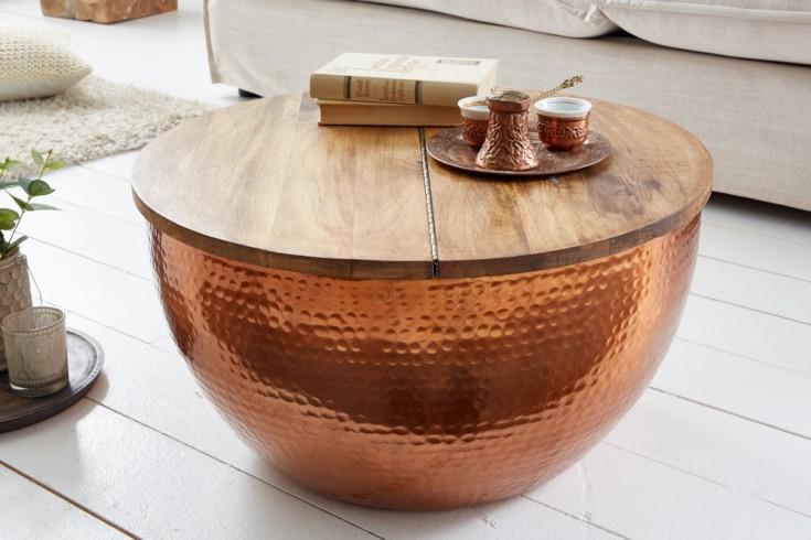 Handgefertigter Couchtisch ORIENT STORAGE 60cm kupfer Mangoholz mit Stauraum