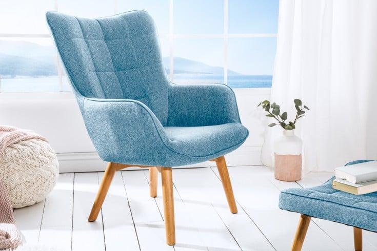 Design Armlehnen Sessel SCANDINAVIA hellblau Buche Scandinavian Design