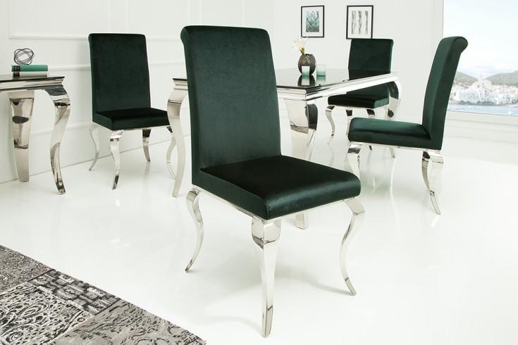 Eleganter Stuhl MODERN BAROCK smaragdgrün Samt Stuhlbeine aus Edelstahl