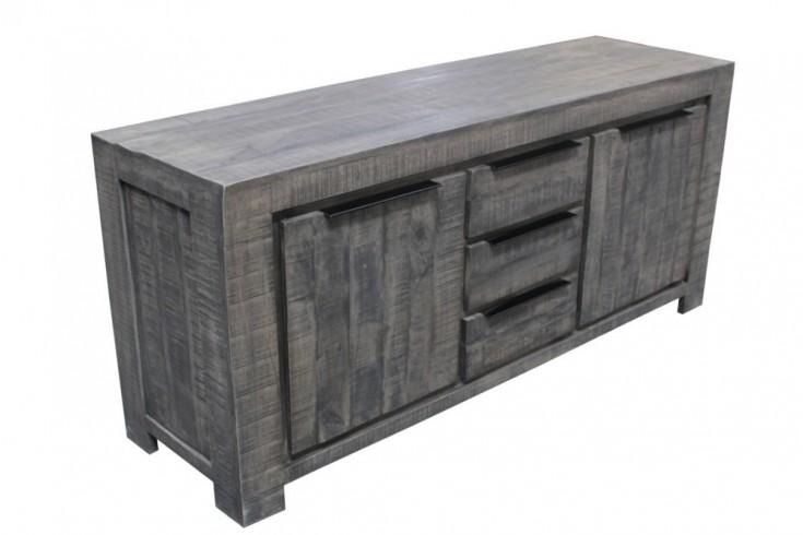 Massives Sideboard IRON CRAFT 174cm grau Mangoholz Handarbeit