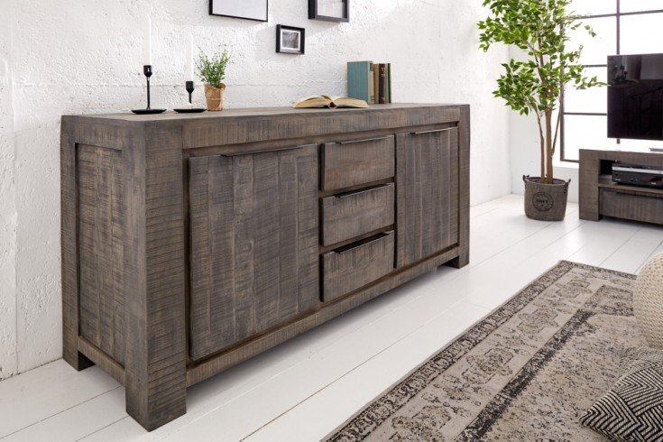 Massives Sideboard IRON CRAFT 174cm grau Mangoholz Handarbeit