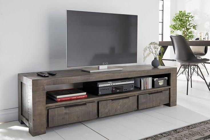 Massives TV-Board IRON CRAFT 170cm grau Mangoholz Lowboard 3 Schubladen