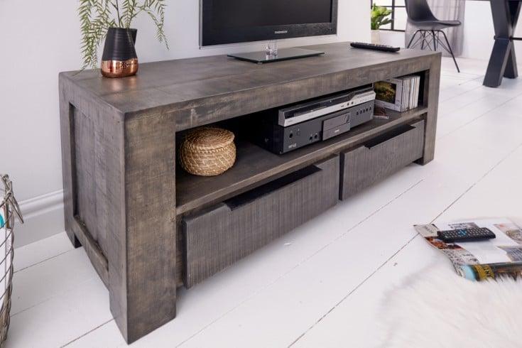 Massives TV-Board IRON CRAFT 130cm grau Mangoholz Lowboard 2 Schubladen