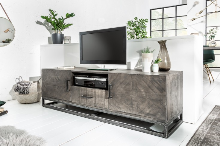 Massives TV-Board INFINITY HOME 160cm grau Mangoholz Industrial Design