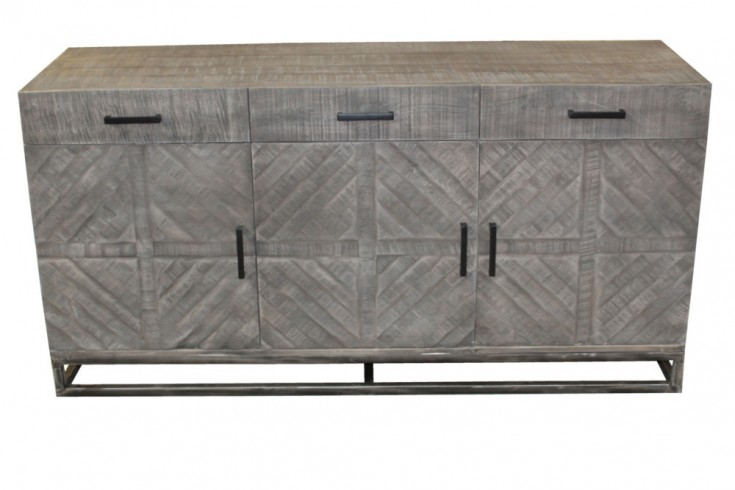 Massives Sideboard INFINITY 160cm grau Mangoholz Industrial Design