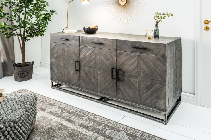 Massives Sideboard INFINITY HOME 160cm grau Mangoholz Industrial Design
