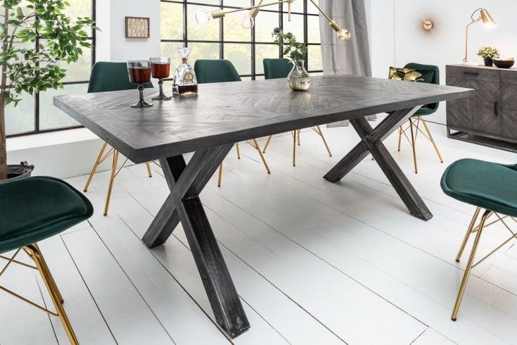 Massiver Esstisch INFINITY HOME 200cm grau Mangoholz Industrial Design