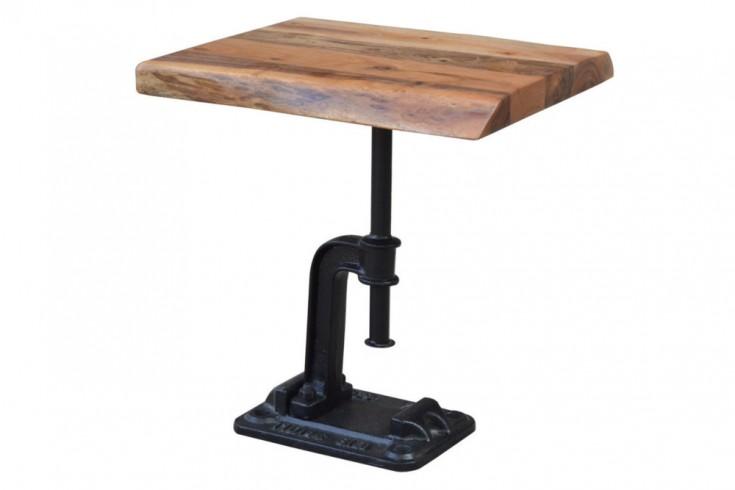 Authentischer Beistelltisch FACTORY 43cm Akazie Massivholz Industrial Design