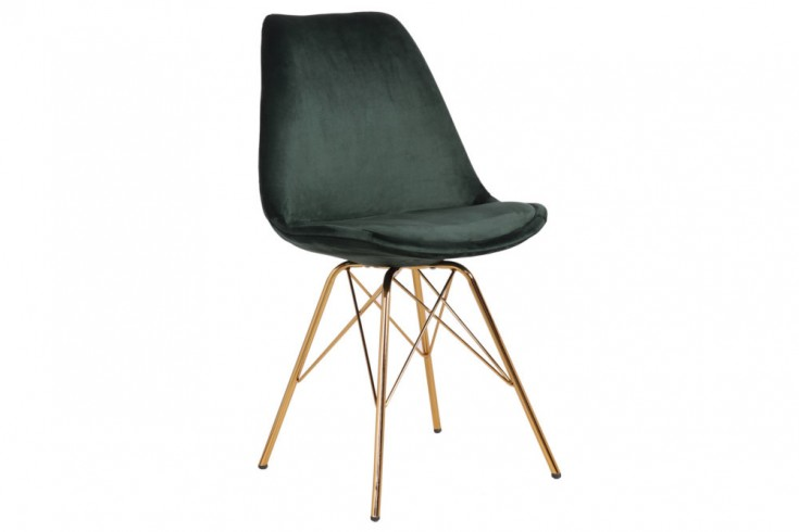 Design Stuhl SCANDINAVIA MEISTERSTÜCK Samt dunkelgrün goldene Beine