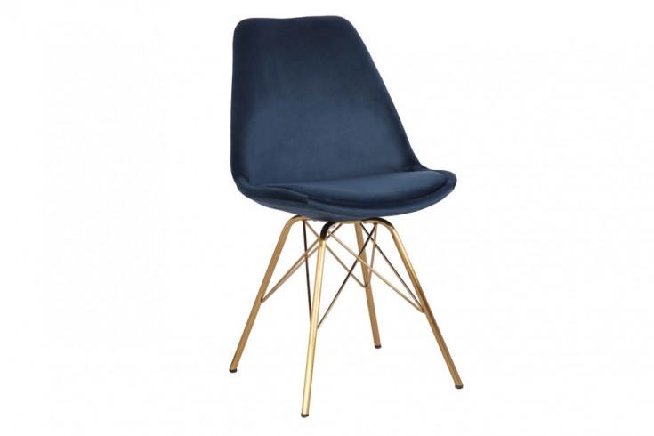 Design Stuhl SCANDINAVIA MEISTERSTÜCK Samt dunkelblau goldene Beine