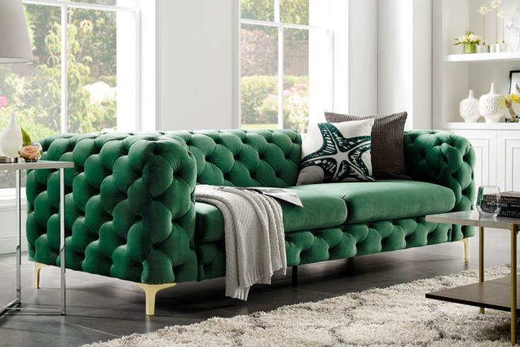 Chesterfield Sofa MODERN BAROCK 240cm Samt smaragdgrün 3-Sitzer