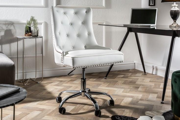 Design Bürostuhl VICTORIAN Lederoptik weiß Drehstuhl mit Armlehne
