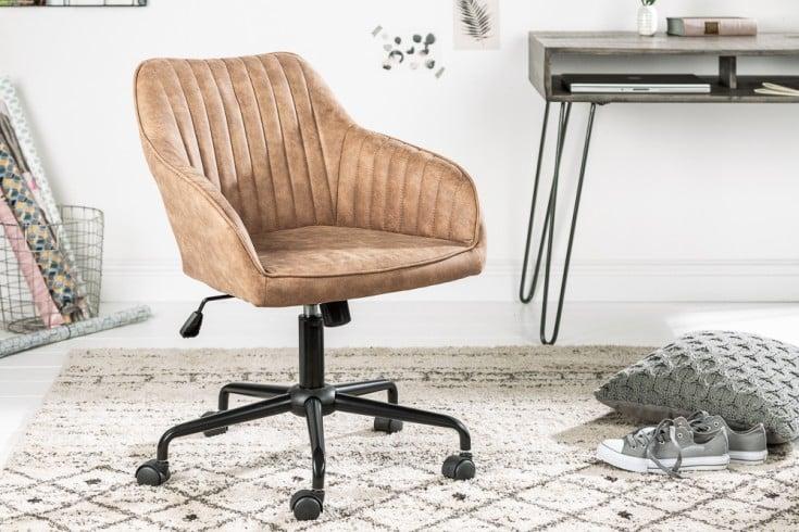 Höhenverstellbarer Bürostuhl TURIN vintage taupe mit Armlehne Drehstuhl