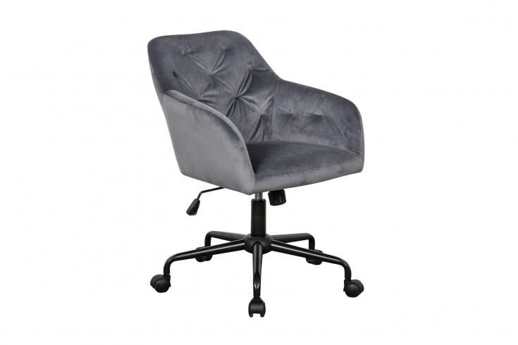 Höhenverstellbarer Bürostuhl DUTCH COMFORT grau Samt mit Steppung