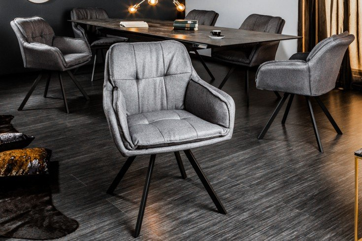 Drehbarer Design Stuhl MR. LOUNGER grau mit Armlehne