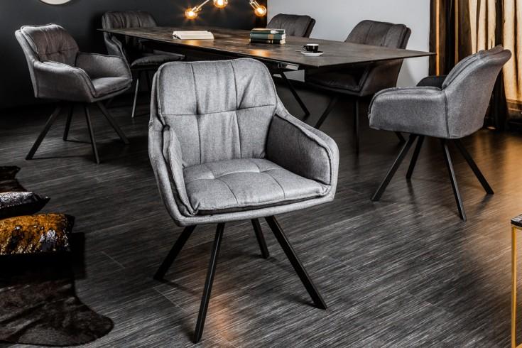 Drehbarer Design Stuhl THE LOUNGER grau mit Armlehne