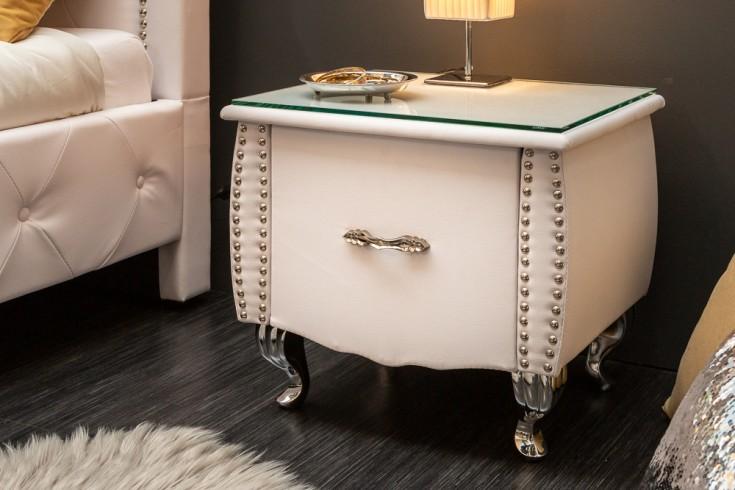 Eleganter Nachttisch EXTRAVAGANCIA 47cm weiß Nachtkommode mit Schublade