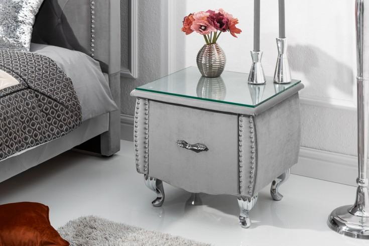 Eleganter Nachttisch EXTRAVAGANCIA 47cm silbergrau Samt Nachtkommode mit Schublade
