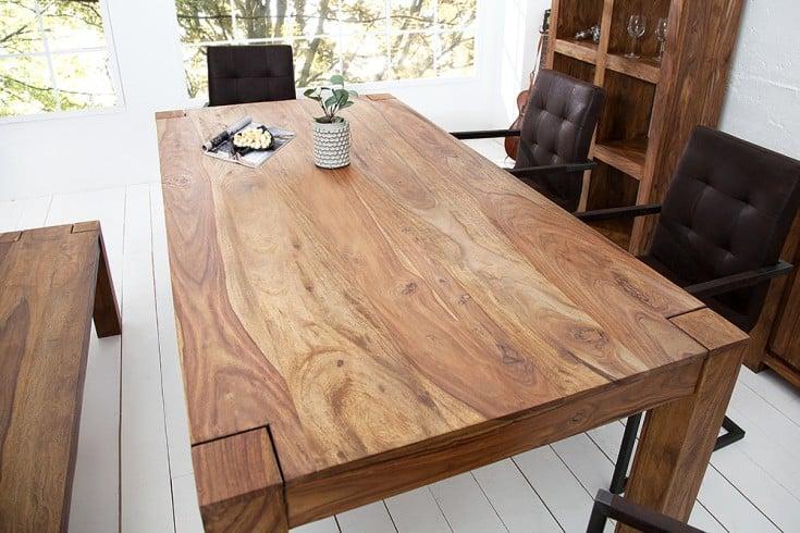 Massiver Esstisch MAKASSAR 160cm Sheesham Tisch einzigartige Maserung