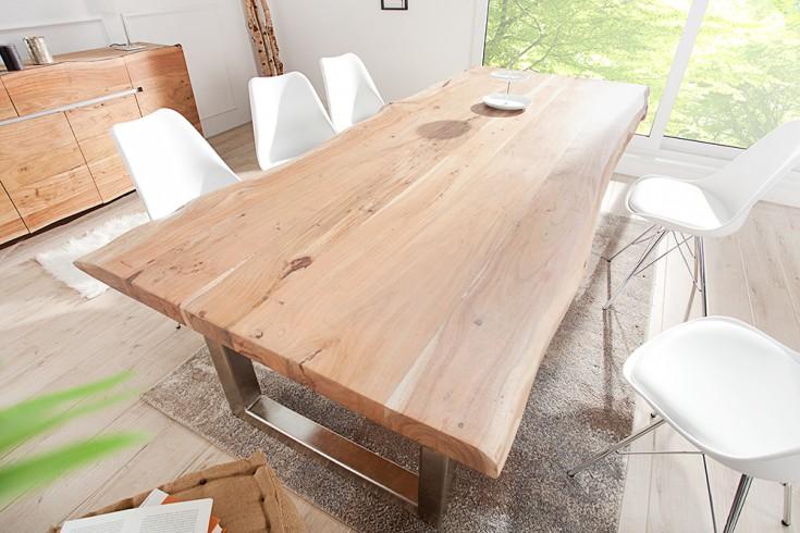 Massiver Baumstamm Esstisch MAMMUT 300cm Akazie Edelstahl Kufengestell 6cm Tischplatte