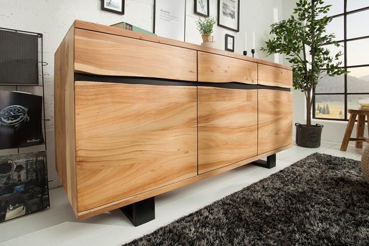 Massives Sideboard MAMMUT 160cm Akazie Metall Baumkante