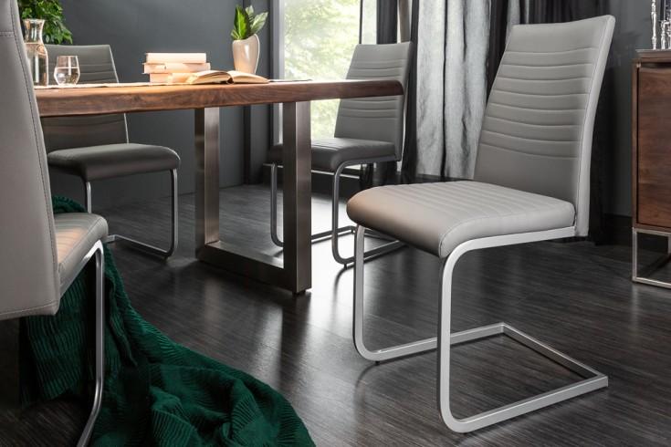 Moderner Freischwinger Stuhl APPARTMENT grau mit Chromgestell
