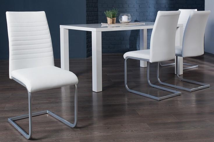 Moderner Freischwinger Stuhl APPARTMENT weiß mit Chromgestell