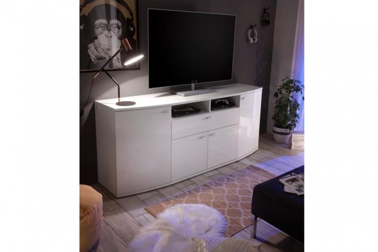 Modernes Design Sideboard CURVE 200cm weiß Hochglanz viel Stauraum
