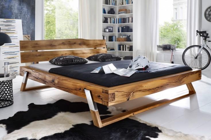 Massives Holz Bett THOR III 180x200cm Wildeiche geölt Edelstahlfüße Balken Bett