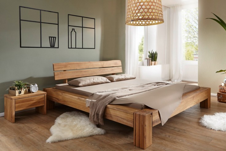 Massives Holz Bett THOR I 180x200cm Wildeiche geölt Balken Bett