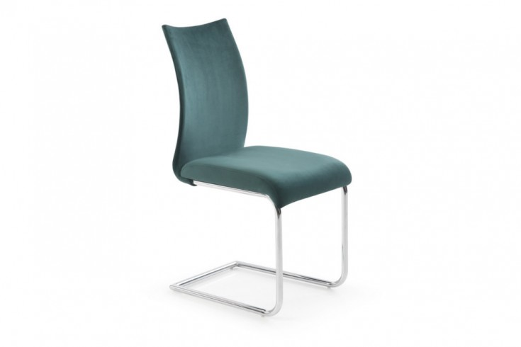 Moderner Design Freischwinger Stuhl SUAVE smaragdgrün Samt mit Chromgestell